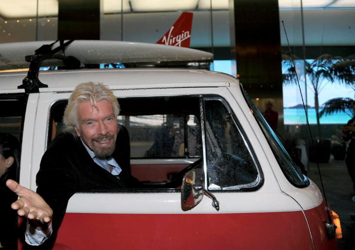 Virgin's Richard Branson showed up for the inaugural flight in a vintage VW van (Image: Virgin America)