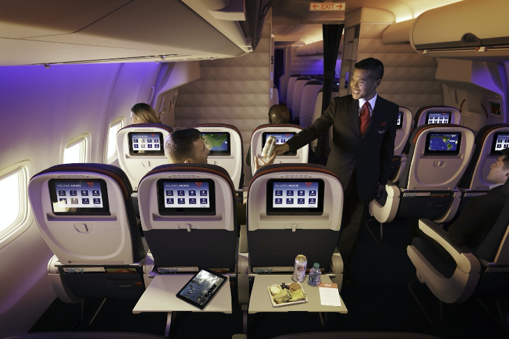 Free upgrades to Delta's Comfort+ seating are now available to Starwood elites. (Image: Delta)