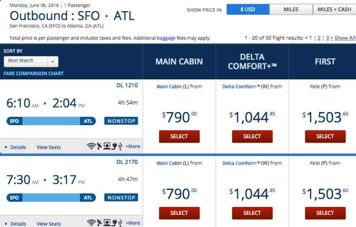 Here's how Delta's new Comfort+ fare displays on an SFO-ATL search for next June