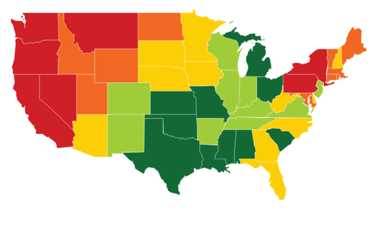Heatmap shows states where gas is most (red) and least (green) expensive (Source: Gasbuddy)