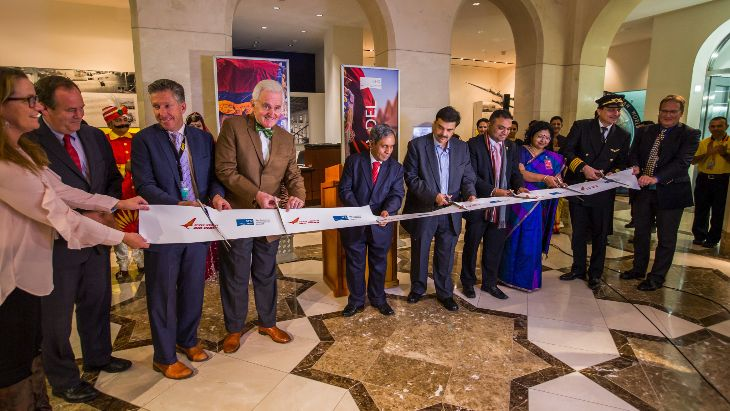 Officials cut the ribbon at SFO to mark Air India's serv ice launch. (Image: Peter Biaggi)
