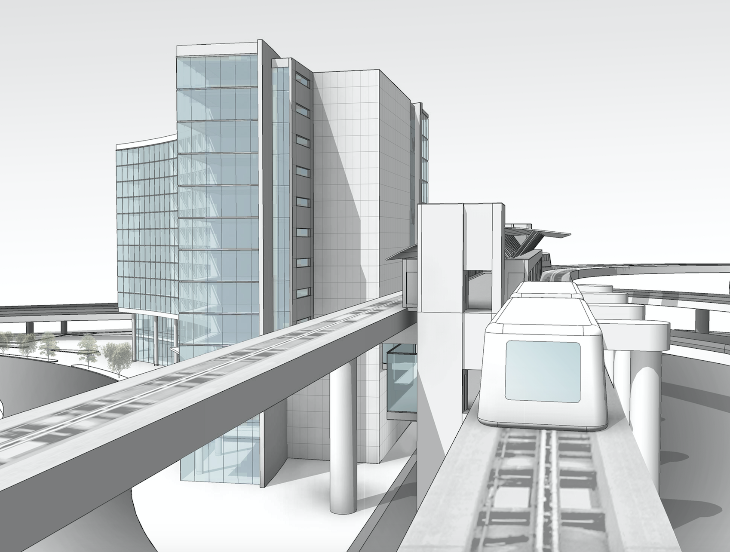 This image shows how the hotel will connect to the AirTrain system (SFO)