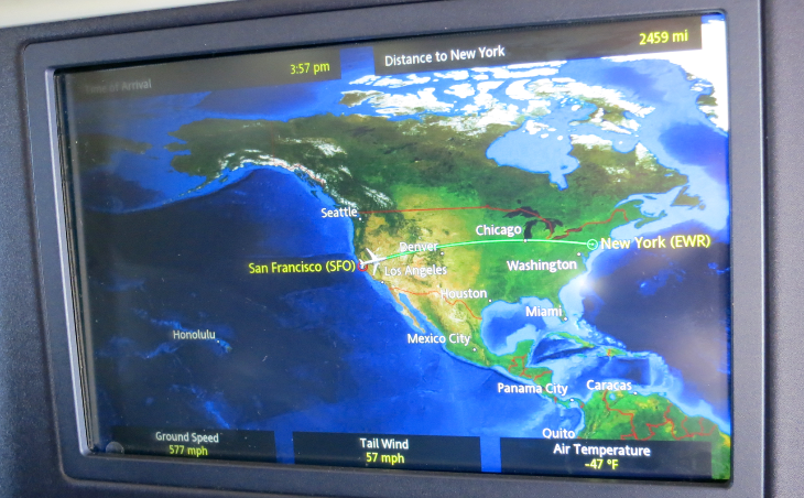 Map showing trip progress from SFO to EWR (Chris McGinnis)