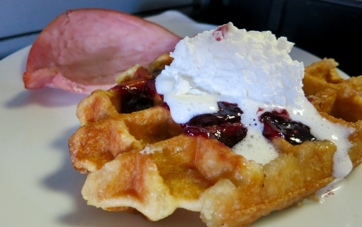 Waffles with blueberries and whipped cream and ham on United p.s. SFO-EWR (Chris McGinnis)