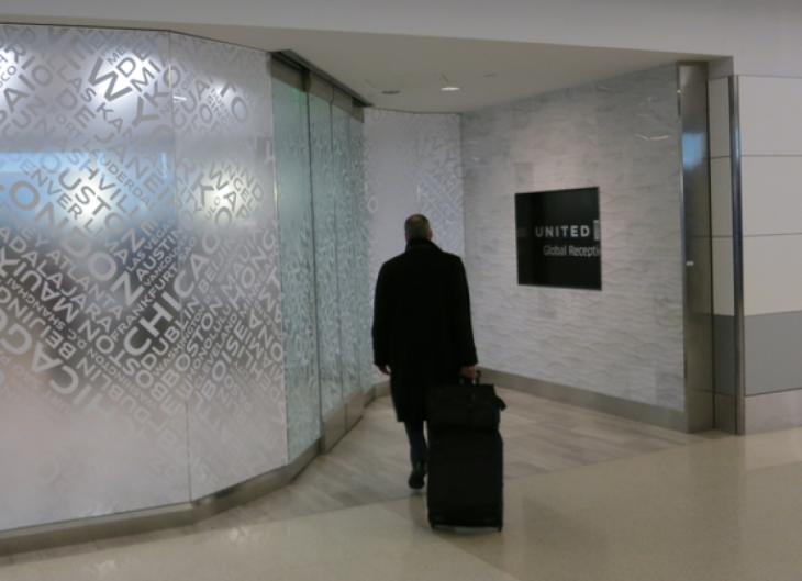 Only a select few see behind the frosted glass of United's Global Services lounge (Chris McGinnis)