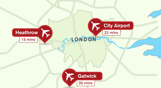 London Gatwick airport is about 30 minutes south of the city (VisitLondon.com)