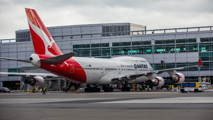 QANTAS' big red 'roo tail is a welcome sight at SFO (Photo: Peter Biaggi)
