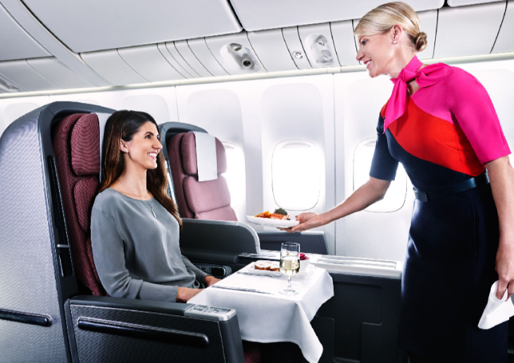 QANTAS business class seats recline to 180 degrees (Image: QANTAS)