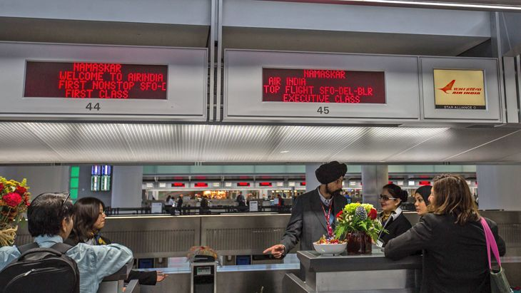 Passenger check-in for the return to New Delhi. (Image: Peter Biaggi)