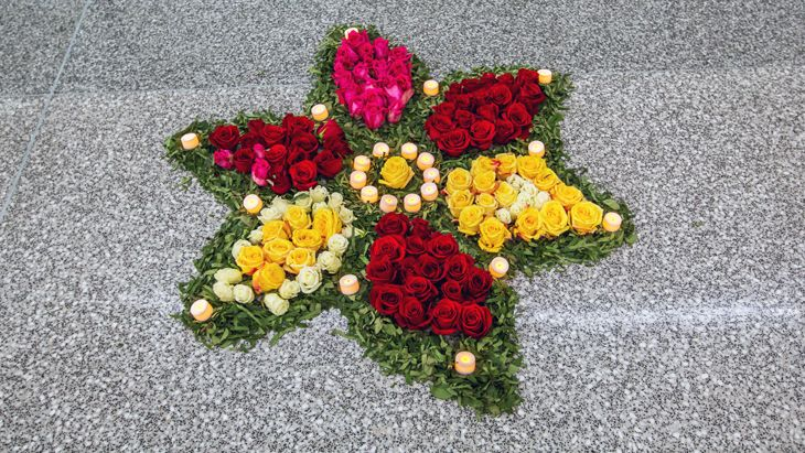 Celebrating Air India's arrival, employees fashioned a rangoli on the floor of the terminal. That's a traditional art form using flowers or other natural materials, representing good luck and a welcome to Hindu deities. (Image: Peter Biaggi)