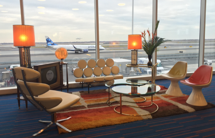 JetBlue adds mid century modern decor at its gate area to celebrate new flights to PSP (Photo: JetBlue)