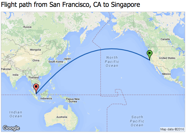 About 16 hours each way between SFO and Singapore (TravelMath)