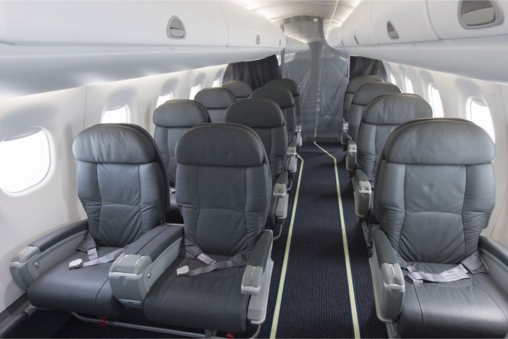 Premium seating on an American Embraer 175. (Image: American)