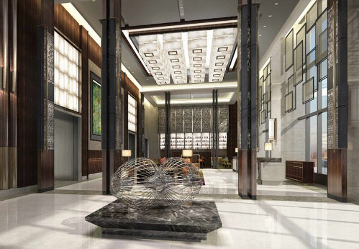 The lobby of the new Courtyard by Marriott in Taipei. (Image: Marriott)