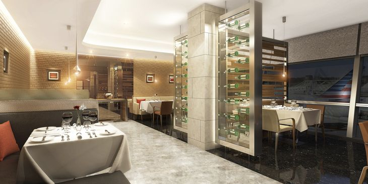 Rendering of AA's new Flagship Dining facilities, coming to major hubs. (Image: American Airlines)