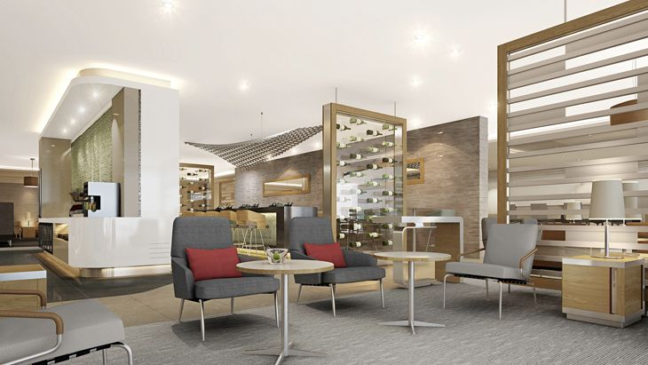 Rendering of seating area at AA's new and expanded Flagship Lunges. (Image: American)