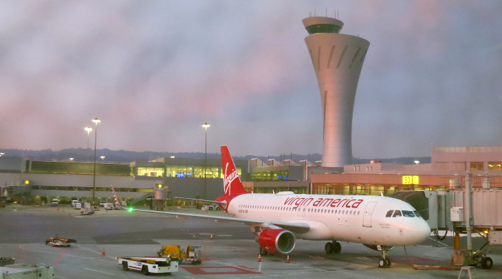Gorgeous sunrise lights up our new A320 and SFO control tower (Chris McGinnis)