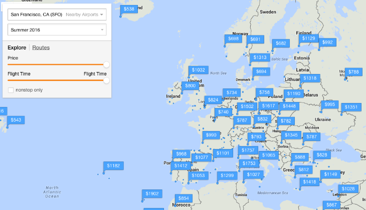 Many summertime fares from SFO to Europe are still sub-$1,000 (Image: Kayak)