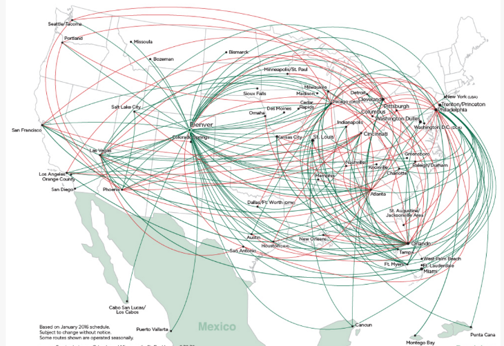 Frontier Airlines route map- red denotes routes coming online this summer (Image: Frontier)