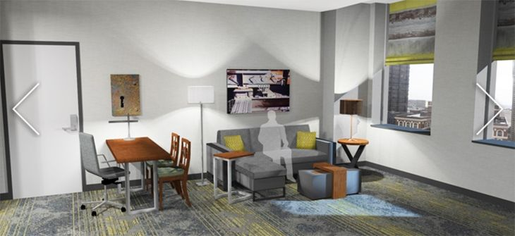 The Embassy Suites in downtown Pittsburgh has plenty of living space. (Image: Embassy Suites)