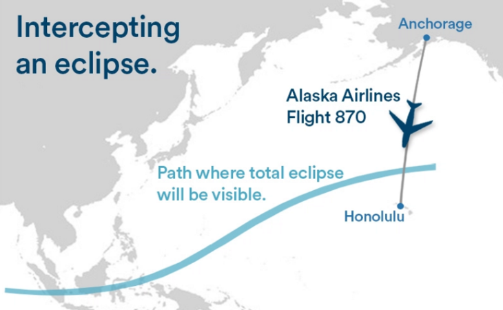 Alaska Airlines shifts flight for better eclipse viewing (Image: Alaska Airlines)