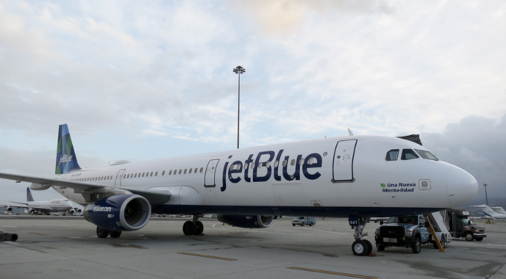 A JetBlue A321 parked at SFO this week- here to celebrate launch on Mint service on SFO-BOS (Photo: Chris McGinnis)