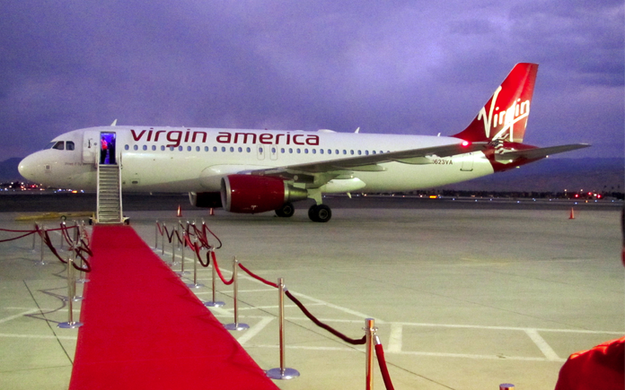 Virgin America touches down in Palm Springs on a cold winter day (Photo: Chris McGinnis)