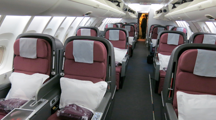 18 big business class seats upstairs on the QANTAS 747 (Chris McGinnis)