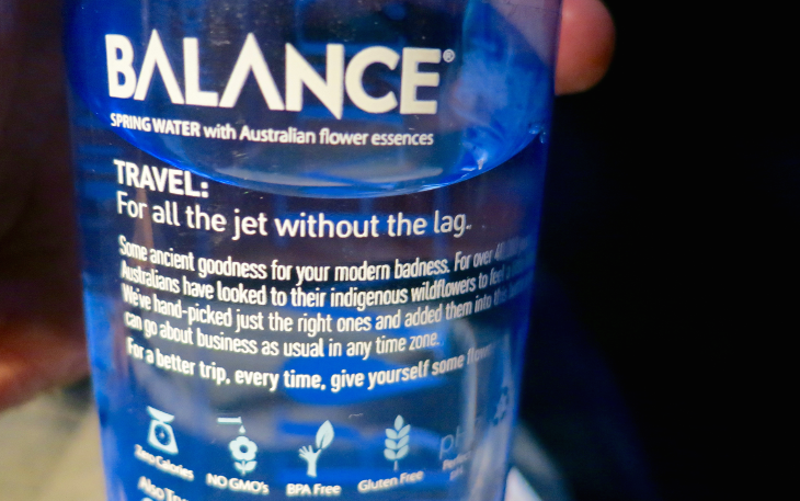 Special jet lag water provided to get you through the night (Photo: Chris McGinnis)