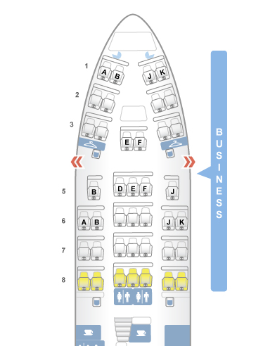 Main deck business class on QANTAS 747-400 (Image: Seatguru)