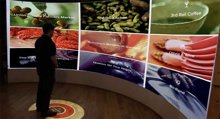 The new Renaissance Midtown in NYC has an interactive digital guest information board. (Image: Renaissance Hotels)