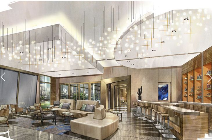 Rendering of the lobby area at The Westin The Woodlands. (Image: Westin Hotels)