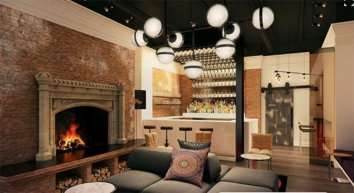 Lobby bar with fireplace at San Francisco's new Hotel Zeppelin. (Image: Viceroy Hotels)