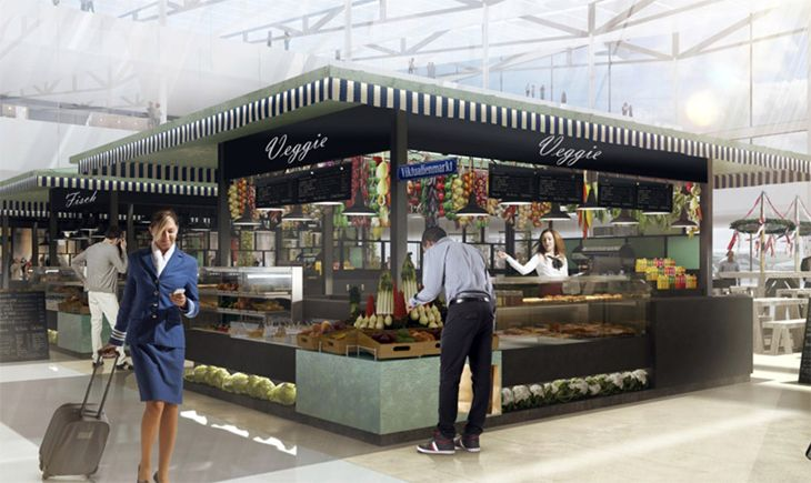 Munich's new T2 Satellite's marketplace includes a vegetable stand. (Image: Koch + Partner Architects)
