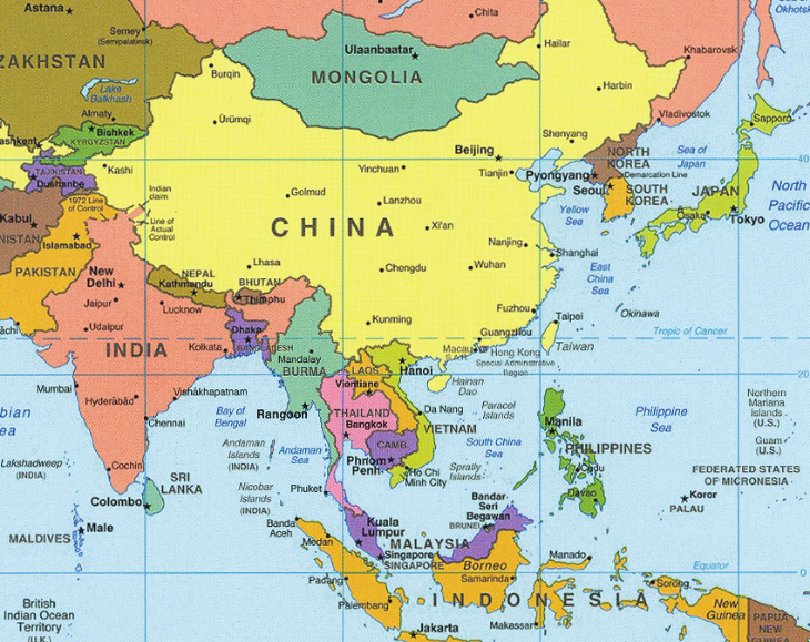 Two round trip business class tickets to Asia! Where? Stay tuned (Map image: US Central Intelligence Agency)