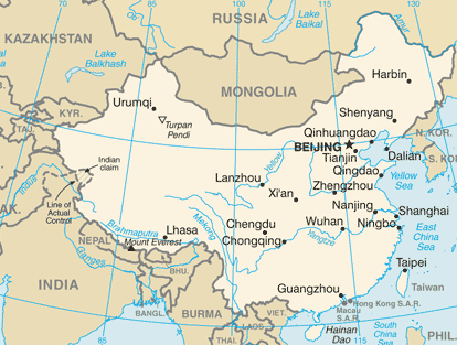 Xian is located in central China with a climate similar to Denver (Map: US CIA)