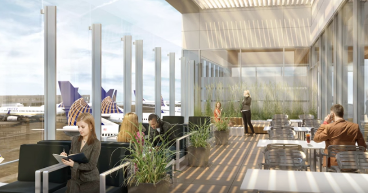 Rendering of United's new outdoor terrace at LAX (Image: United / YouTube)