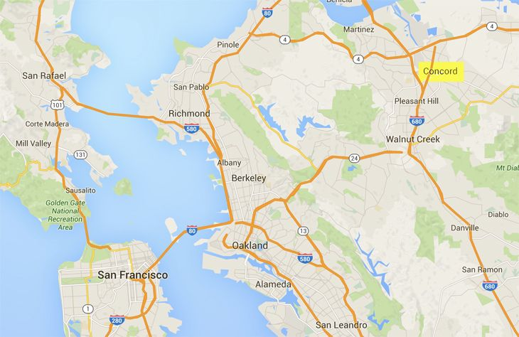 Concord is about 32 miles from San Francisco. (Image: Google Maps)
