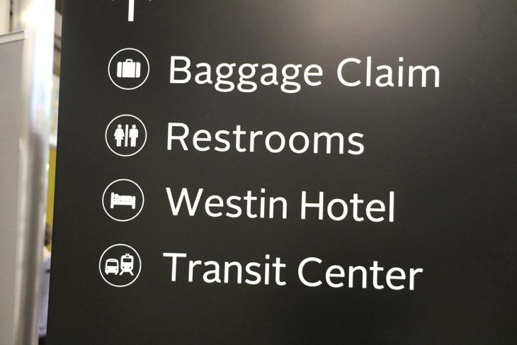 New signage at the airport directs travelers to the Transit Center. (Image: Jim Glab)