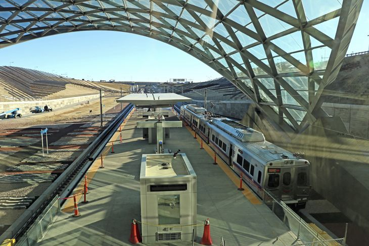 The new Denver Airport rail station is under the Westin Hotel. (Image: Jim Glab)