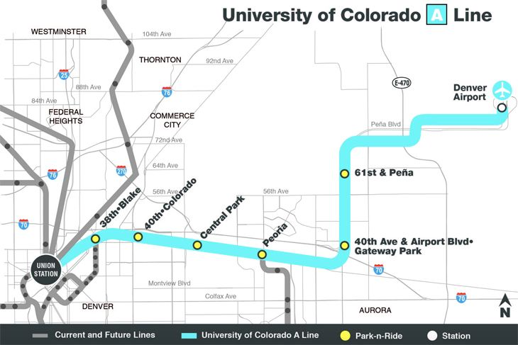 The 23-mile rail trip has six intermediate stops. (Image: Denver RTD)