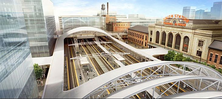 Denver's airport train takes riders to the city's new transit center at Union Station downtown. (Image: Denver RTD)