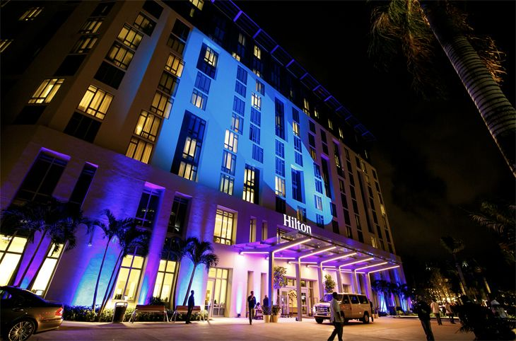 Hilton's new West Palm Beach hotel. Hilton tied for first place in rankings of guest loyalty programs. (Image: Hilton)