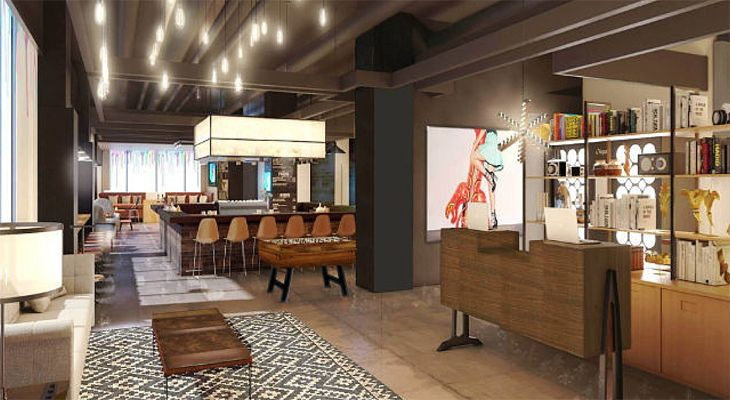 The lobby area at Marriott's new Moxy in New Orleans. (Image: Marriott)