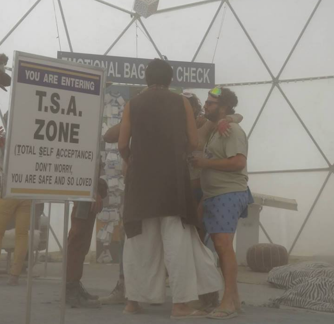 A geodesic dome designed to mimic the airport experience on the dusty playa in 2015 (Image: Big Imagination Foundation)