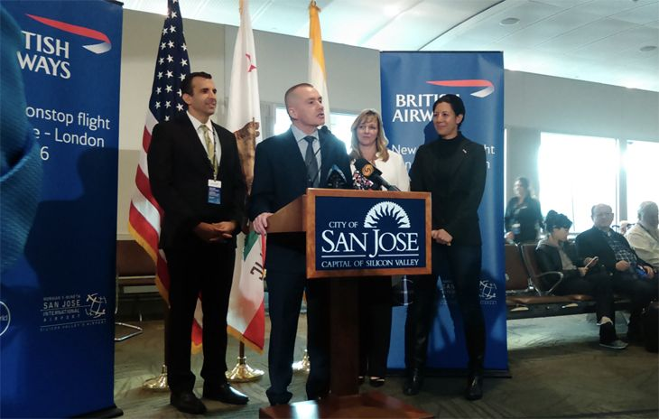 From left: San Jose Mayor Liccardo, International Airline Group CEO Willie Walsh, SJC Aviation Director Kim Becker, and British Consul Gebneral in San Francisco Priya Guha. (Image: Mineta San Jose Airport)