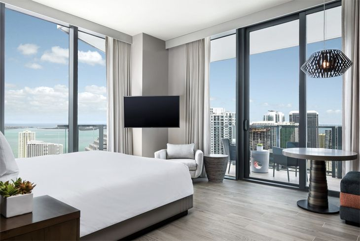 A corner room with a view at Swire's new EAST, Miami. (Image: Swire Properties)
