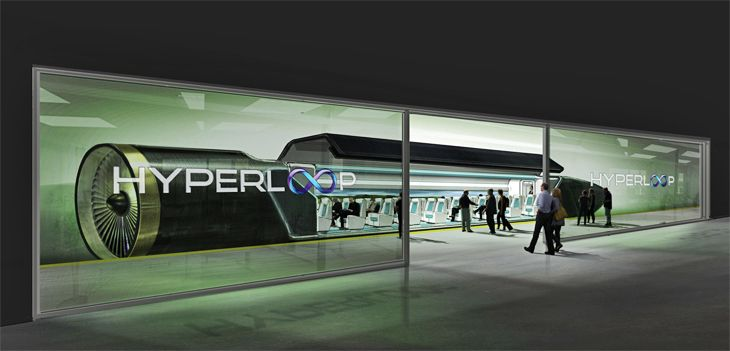 Rendering of passenger boarding a Hyperloop vehicle. (Image: Hyperloop Technologies)