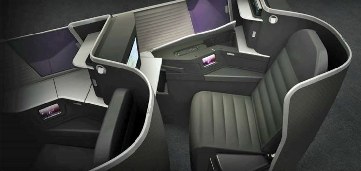 The new business class seat reclines into a fully flat bed. (Image: Virgin Australia)