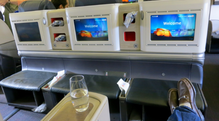 Big bright seatback touch screens, leather ottomans, plenty of nooks for storage (Photo: Chris McGinnis)